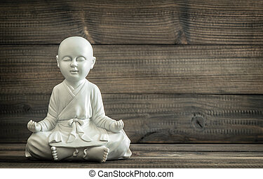 Sitting buddha White statue Relaxing concept vintage -...