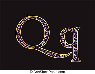 Qq Amethyst Jeweled Font with Gold - Qq in stunning amethyst...