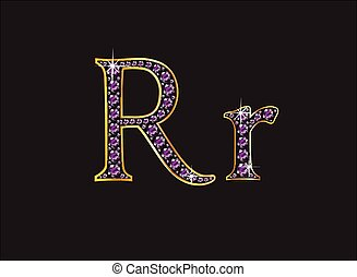 Rr Amethyst Jeweled Font with Gold - Rr in stunning amethyst...