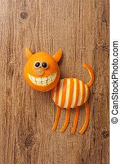 gato, hecho, de, naranja, y, uva, en, de madera, Plano de...