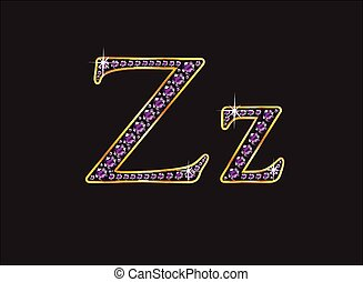 Zz Amethyst Jeweled Font with Gold - Zz in stunning amethyst...