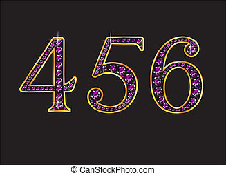 4, 5 and 6 Amethyst Jeweled Font with Gold Channels