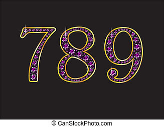 7, 8 and 9 Amethyst Jeweled Font with Gold Channels - 7, 8...