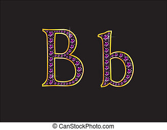 Bb Amethyst Jeweled Font with Gold Channels - Bb in stunning...