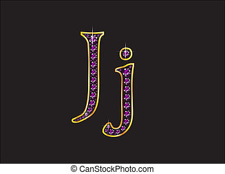 Jj Amethyst Jeweled Font with Gold Channels - Jj in stunning...