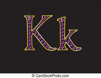 Kk Amethyst Jeweled Font with Gold Channels - Kk in stunning...