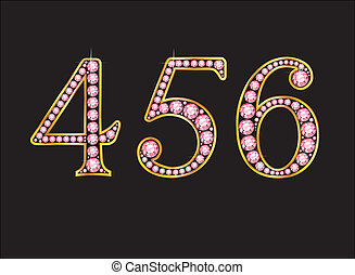 456 Rose Quartz Jeweled Font with Gold