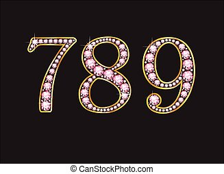 789 Rose Quartz Jeweled Font with G - 7, 8 and 9 in stunning...