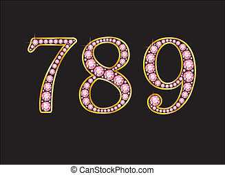 789 Rose Quartz Jeweled Font with Gold