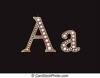 Aa Rose Quartz Jeweled Font with Go - Aa in stunning rose...