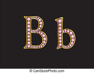 Bb Rose Quartz Jeweled Font with Gold - Bb in stunning rose...
