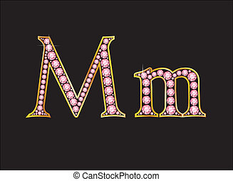 Mm Rose Quartz Jeweled Font with Gold Channels - Mm in...