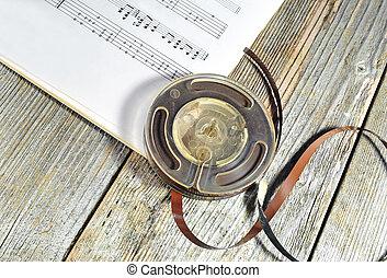 gammal, noteringen, tejpa, musik