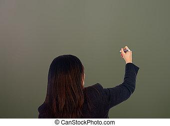 Chalkboard - Woman writing on a empty chalkboard background