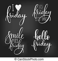 Friday lettering set - Hello Friday lettering. Motivational...