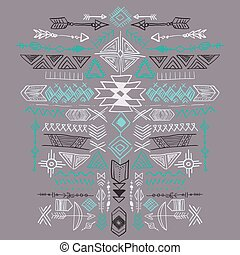 Navajo Aztec Vector Tribal ethnic ornament. Abstract hand...