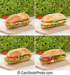 Healthy eating collection of sub sandwiches with ham, salami...
