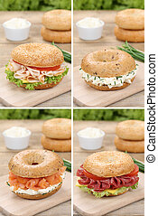 Collection of bagels with cream cheese, salmon fish and ham...