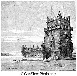 Belem Tower, in Lisbon, Portugal, vintage engraving - Belem...