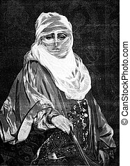 Morocco. A woman of the country, vintage engraving. -...