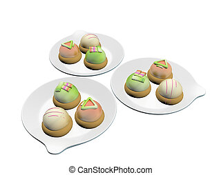 Colorful topped desserts served on round ceramic plates, 3d...