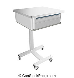 Mobile stainless metal medical over bed table with drawer, 3d illustration