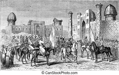 Enter the emir in Samarkand, vintage engraving. - Enter the...