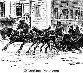 Troika, Trois, chevaux, vendange, engraving.,