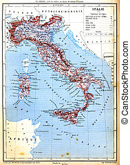 The map of Italy with explanation of signs on map