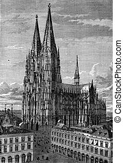 Cologne Cathedral, vintage engraving.
