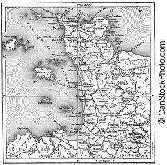 Topographical Map of Manche in Basse-Normandie, France,...