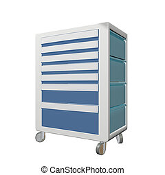 Blue and grey metal medical supply cabinet with wheels, 3D illustration