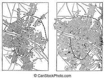 Map of Paris under Henri IV and Paris in the advent of Louis...