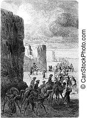 The caravan of Hajjis in Korantaghi, vintage engraving. -...
