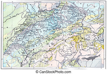Topographical Map of the Alps, vintage engraving -...