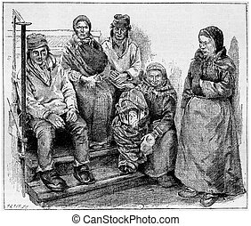 Laplanders or Sami People, vintage engraving - Laplanders or...