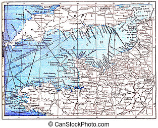 Topographical Map of the English Channel in Manche in...