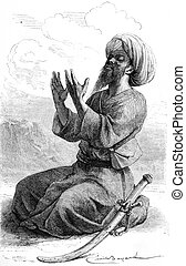 Hadji Bilal, pilgrim Tartar companion Vambery, vintage...