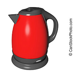 Red and black electric tea kettle, 3D illustration, isolated...