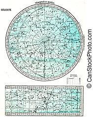Hemisphere Boreal, vintage engraving. - Hemisphere Boreal,...