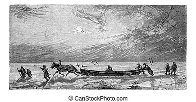 Dragging a boat on the ice of Duuml;na - Dragging a boat on...