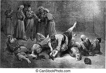 The torture of prisoners in Khiva, vintage engraving - The...