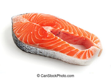 Salmon steak over white
