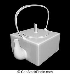 White ceramic tea kettle, 3D illustration, isolated against...