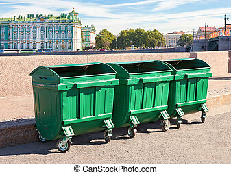 Green recycling containers at the embankment in St. Petersburg, Russia
