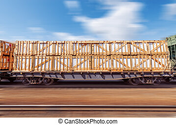 Loaded freight carriage - Loaded freight carriage moves fast...