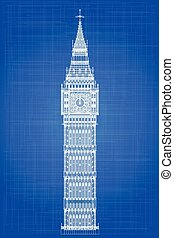 Big Ben Blueprint - The London landmark Big Ben Clocktower...