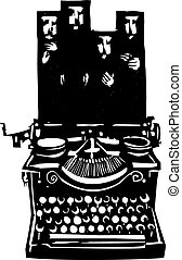 Woodcut Hijab Typewriter