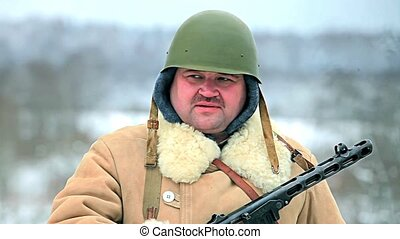 winter Soldier - soldier in winter uniform of the Soviet...