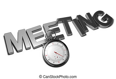 Speed Meeting Concept - Word meeting with a stopwatch over...